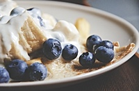 Blueberries on pancake