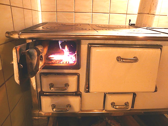 Old-fashioned kitchen oven and stovetop